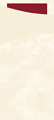 Duni 450056_ (1) Bestecktaschen mit Servietten, 8,5 x 19cm, creme- und bordeauxfarbene Sacchetto (100Stück)