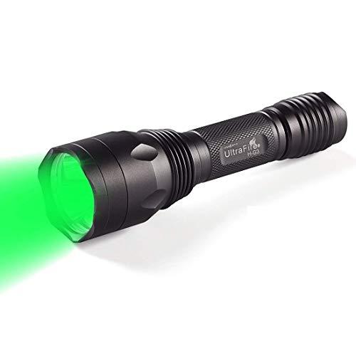 UltraFire Taschenlampe Grün Licht LED Taktische Taschenlampe 650 Lumens 520-535 nm Wellenlänge Grüner Strahl Wasserdichte Jagd Taschenlampe HG3 (Grünes Licht Taschenlampe)