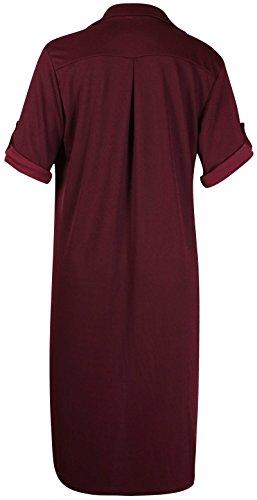 femmes grande taille manche revers femmes ourlet asymétrique robe Queue De Poisson Chemisier long haut Bordeaux