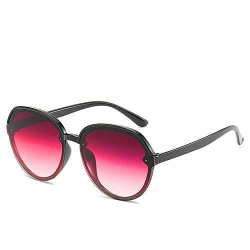 WDDYYBF Sonnenbrillen, Casual Übergroße Aviator Sonnenbrille Für Frauen Männer Aus Magnesiumlegierung Fashion Beach Reise Uv400 Schwarzen Rahmen Wein, Rote Linse