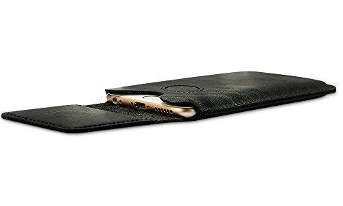 Jisoncase VINTAGE Ledertasche Apple iPhone 6 6S Hülle Tasche Case in klassische Farbe aus hochwertigem Leder braun JS-IP6-24A20 Schwarz