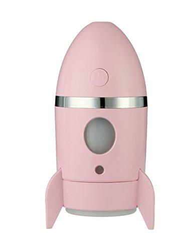 ROLLBERTO 135ml Mini LED Luftbefeuchter, USB Lampe Ultraschall 7 Farbe Tasse Nachtlicht Befeuchter leiser Betrieb, Portable Zerstäuber für Office und Zimmer Rosa