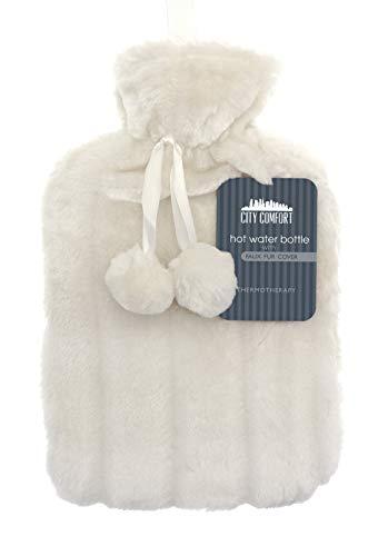 Botella de agua caliente CityComfort con funda de felpa súper suave de lujo | Botellas de agua caliente de 2 litros | Diseño británico seguro y duradero (marfil)