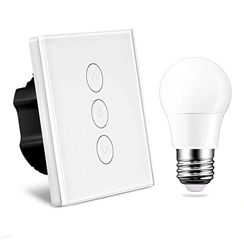 Dimmerschalter Alexa mit Dimmbarer Glühlampe, 1 Gang 2A 150W LED Berührungsschalter Sensorfeld Kompatibel mit Alexa/Google Startseite WLAN Wandlichtschalter Weiß (Neutraler Drahtbedarf)