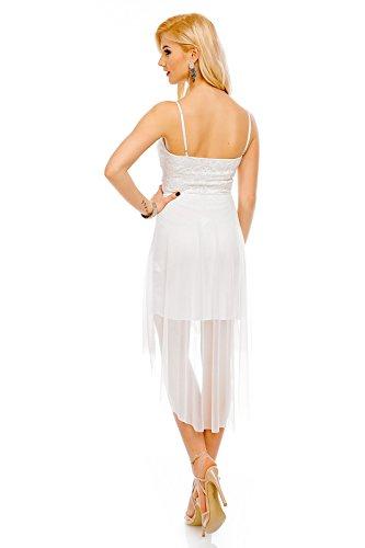 Mayaadi Damen Cocktail-Kleid figurbetontes Party-Kleid mit Spitzen Partien 1903 Weiß