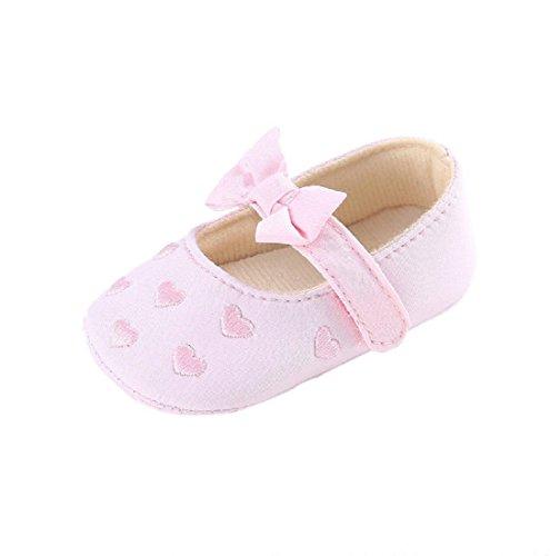Baby Schuhe,Auxma Baby Mädchen Bogen-Knoten Segeltuch-Schuh-Turnschuh Anti-Rutsch-Soft-Sohle Kleinkind Schuhe (0-6 M, Weiß) Rosa