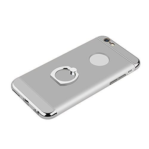 Skitic 360 Degrés de Rotation Ring Stand Holder Clair Housse de Protection Étui Coque pour iPhone 6 / iPhone 6S, Ultra Mince 3 In 1 Hybrid Dur PC case Protecteur Bumper cover avec Electroplate Plating Argent
