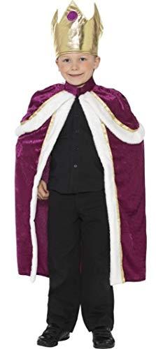 Kostüm Shakespeare Kinder - Fancy Me Kinder Jungen Königlich König Monarch Weihnachten Krippenspiel Tudor Krone Robe Shakespeare Verkleidung Kostümparty Schule Play Kostüm Outfit - Violett & Schwarz, 7-9 Years