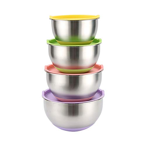 Set di 4 ciotole acciaio inox cucina con coperchio, base in colorate silicone antiscivolo, litri con misurazioni mostrate interno, ciotole da 1,5l,2l, 2,5l & 3l
