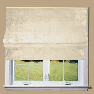 Cream Natural Chenille Lined Roman Blinds With Fittings FtCm - Roman blinds