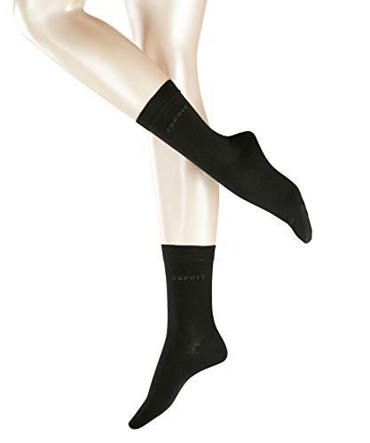 ESPRIT Damen Socken Uni 2-Pack, 80% Baumwolle, 2 Paar, Schwarz (Black 3000), Größe: 35-38