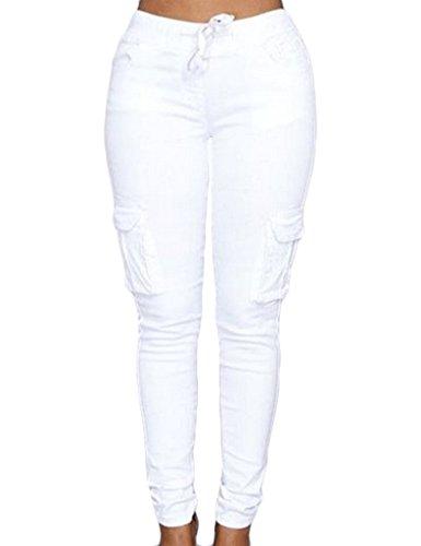 Legou Femme Pantalon collant au ceinture à lacet Blanc