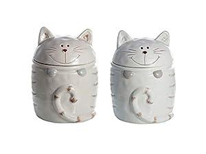 Lot de 2 Chat motif boîtes de rangement avec couvercle les bocaux en céramique tout type de contenant pour à café thé, objets décoratifs cuisine, cadeau pour les amoureux de chats, beige et blanc