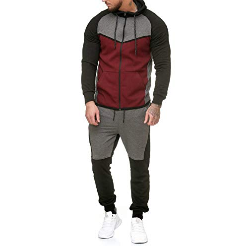 Männer Sweatshirt Sets Mann Spleißen Reißverschluss Trainingsanzug Fashion Hoodies Patchwork Fit Günstige Top Hosen Sets Sport Anzug Moonuy