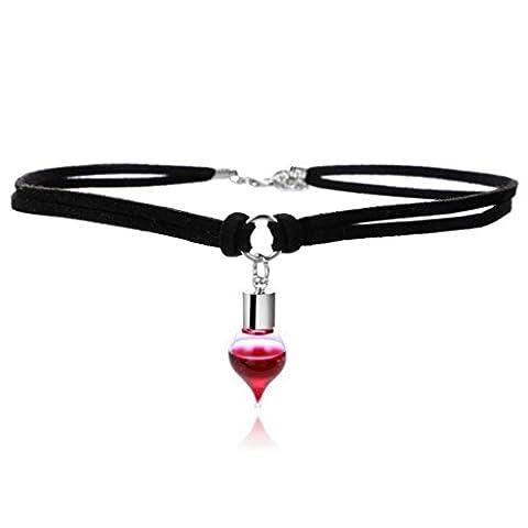 Women Necklace,Clode® Elegant Women Clothing Decoration Leech Blood Glass Pendant Necklace Set Stretch Velvet Classic Gothic Tattoo Lace Choker (Style