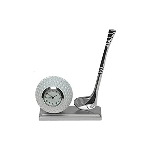 Miniature Desk Silver Golfing Desk Clock - Make A Fantastic Present For The Golfing Enthusiast