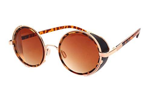 AOCCK Brillen Sonnenbrillen Steampunk Sunglasses Women Round Glasses Goggles Men Side Visor Circle Lens Unisex Vintage Retro Style Punk Oculos De Sol M027 Leopard