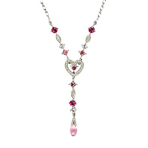 Cristalina Rosy Pink Crystal Heart Y-Shaped Necklace with Briolette Drop 45cm + 5cm Ext