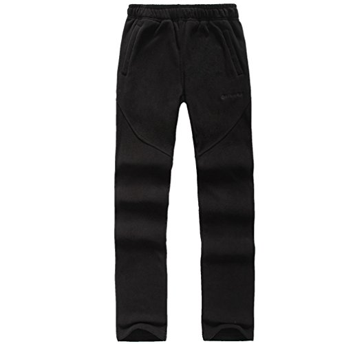 emansmoer Damen Thermisch Fleecehose Frauen Casual Weich Warm Fleece Hosen Outdoor Winter Sport Camping Wandern Hosen (Medium, Schwarz) (Bein Reise-hose Gerades)