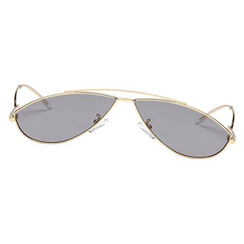Sharplace Damen Cat Eye Sonnenbrille Katzenaugen Kunststoff Rahmen Brille - Goldrahmen Graue Linse