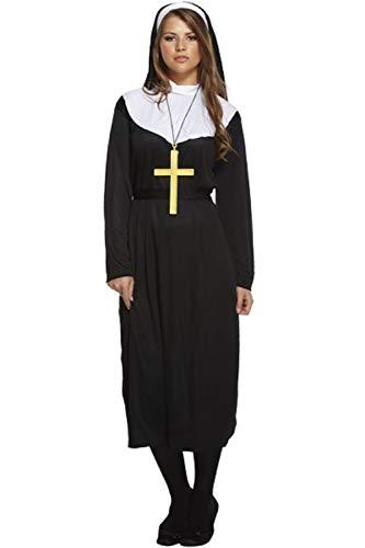 Kostüm Nonne Katholische - Fancy Me Damen traditionell Katholische Nonne Uniform religiös Kostüm Kleid Outfit STD &Übergröße - Schwarz, STD (UK 10-14)