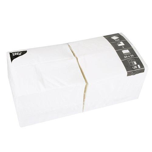 Papstar 1 Karton = 4x250 Servietten, 3-lagig 1/8-Falz 33 cm x 33 cm weiss 14234