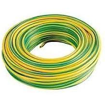 Cable eléctrico unipolar N07V-K Cable 1x 2,5mm² aislado con PVC bobina de 25metros color amarillo verde flexible