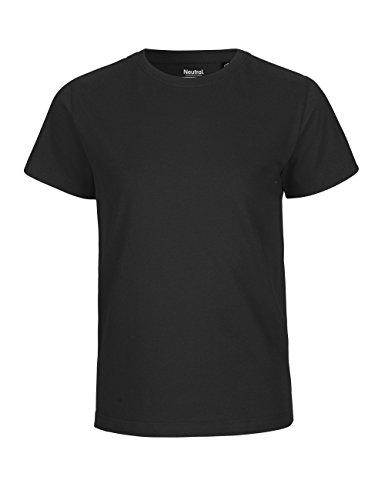 -Neutral- Kids Short Sleeved T-shirt, 100% Bio-Baumwolle. Fairtrade, Oeko-Tex und Ecolabel zertifiziert, Textilfarbe: schwarz, Gr.: 128 (Shirt Bio-baumwolle 100%)