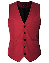 YOUTHUP Gilet Costume Homme sans Manche Slim Fit Multicolore Veste Business Mariage Elégant