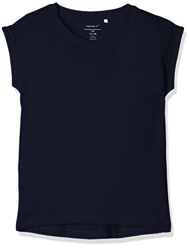 NAME IT Mädchen T-Shirt Nkfvilda SS Top Noos, Blau (Dark Sapphire), 128 (Herstellergröße: 122/128)
