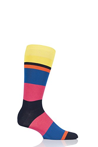 Mens 1 Pair Richard James Miramar Mirrored Block Stripe Cotton Socks