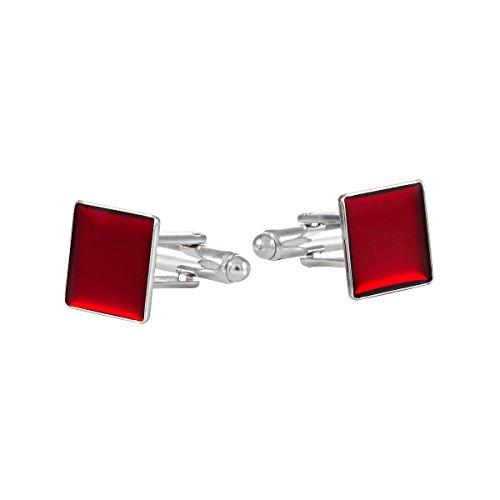 ba bijou-art Manschettenknöpfe Rot Emaille Rhodiniert 12x12 mm