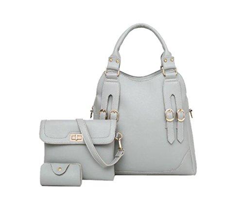 Faux Leder Medium Tote Tasche (Mädchen Faux Ledertasche Vintage Satchel Celebrity Top Griff Tasche Tote Bag,Grey-M)