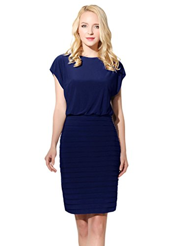 Bbonlinedress Damen Slim-Fit Jumpsuit Business Office Lady Tank Pencil Kleid Blue 46