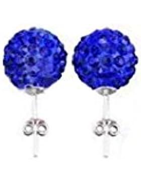 Damen - blau Zirkonia Kristalle Ball 925 Sterling Silber Ohrringe Schmuck