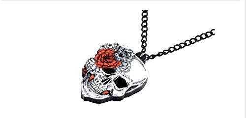 te Original Acryl Halloween Blume Totenkopf Halskette Anhänger Kette Collier Trendy Punk Schmuck Für Frauen Mädchen ()