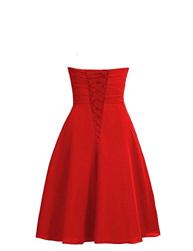 CoutureBridal® Robe Courte Femme Bustier de Soirée Cocktail Rrobe de Demoiselle d'honneur Chiffon Violet