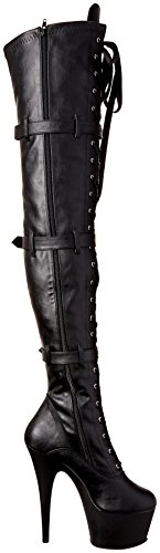 Pleaser ADORE-3028 Blk Faux Leather/Blk Matte