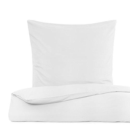 Lumaland Premium Polycotton Bettwäsche Set mit YKK Reißverschluss Maße: 135 x 200 cm & Kissenbezug 80 x 80 cm Weiß