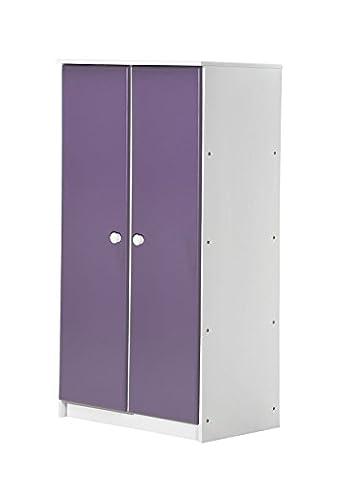 Design Vicenza Avola Zwei Türen Schrank mit Schiene weiß mit lila Details