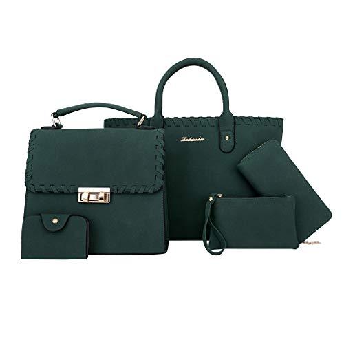 Artistic9 Handbag Lady Aktentasche Umhängetasche Lange Schultasche Arzttasche Webkante und Shopper Handtasche Set Brieftasche und Armband einfarbig für Office Lady -