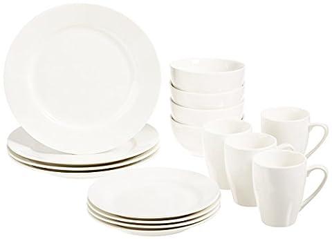 AmazonBasics Premium Dinnerware Set with 16-Piece, Round - Classic White