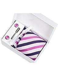 Coffret Cadeau Bilbao - Cravate à rayures bleu marine, fushia et blanches avec reflets roses, boutons de manchette, pince à cravate, pochette de costume