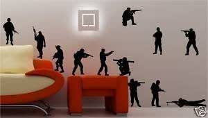 Online Design 12 X Army Soldiers Wall Art Sticker Vinyl Kids Bedroom - Black