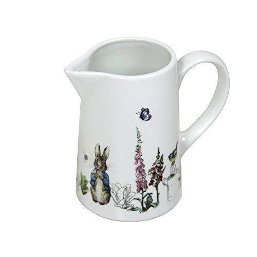 BEATRIX POTTER PETER RABBIT BLEU GRIS porcelaine blanche pot à lait h10xw11.5xd5.5cm
