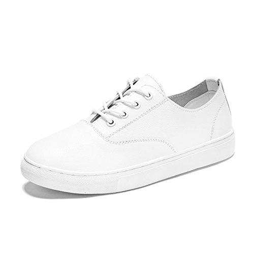 HWF Chaussures femme Chaussures de plate-forme décontractée féminine blanche de printemps plates chaussures simples simples chaussures de létudiant des femmes ( Couleur : Blanc , taille : 38 ) Blanc