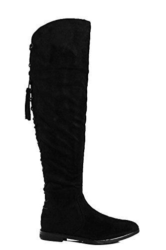 Schwarz Damen Tia Flache Overknee-stiefel Zum Binden Schwarz