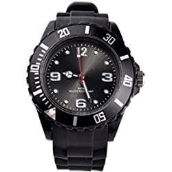 BLACK QUARTZ SILICON /RUBBER STYLE JELLY SPORT WRIST WATCHES UNISEX