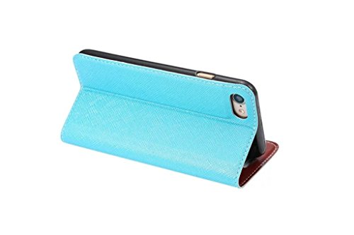 Cross Lines Texture Ultra Thin Slm Style PU Leder Schutzhülle mit Card Slots und Kickstand für iPhone 7 Plus ( Color : Rose ) Blue