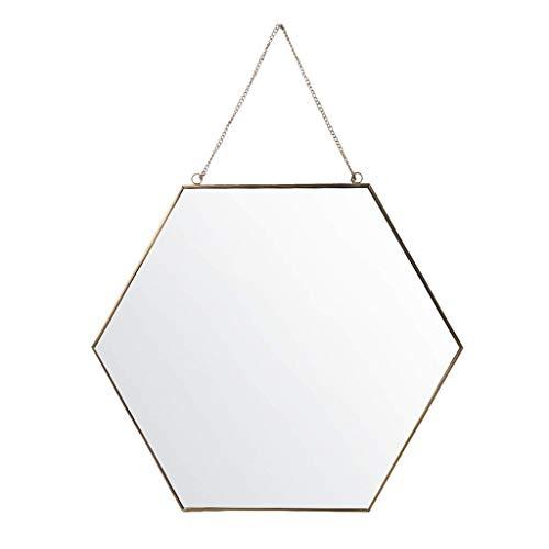 JKAD Cuarto baño Espejo Hexagonal Latón Marco Montado